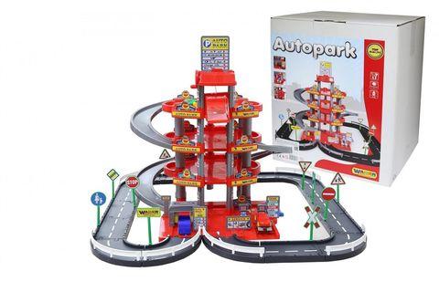 Паркинг 4-уровневый с дорогой и автомобилями, красный (в коробке)