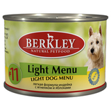 BERKLEY ADULT Light Menu Консервы для собак №11 Легкое меню Индейка с ягненком и яблоками 6х200 г. (75010)