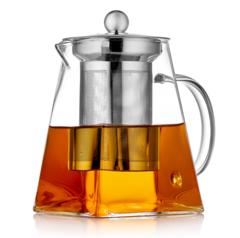 Чайник заварочный 500 мл квадратный с фильтром, стеклянный