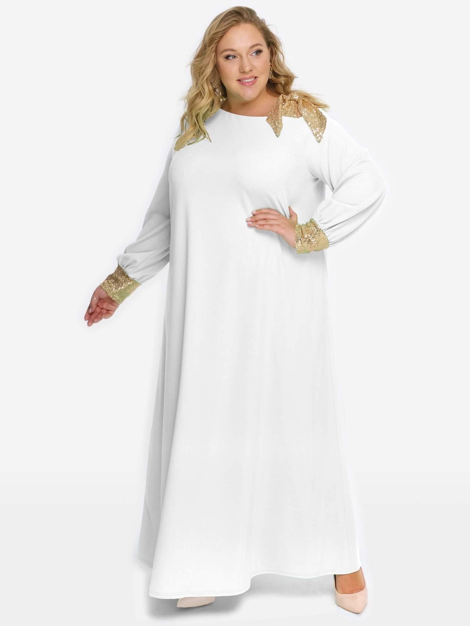 Платье из крепа с золотистыми пайетками