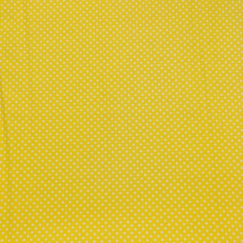 Ткань хлопковая белый горошек 3 мм на желтом. Отрез 50*80 см