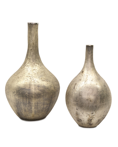 Set of Two Silver Iridescent Vases