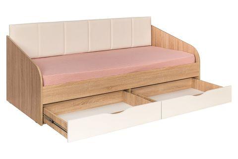 Кровать одинарная Линда 01.60 Моби 90х200 дуб сонома/белый
