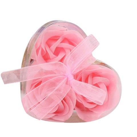 Мыльные розы в коробке розовые (3шт)