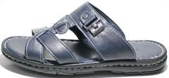 Синие босоножки шлепанцы мужские кожаные. Летние шлепки сандали на плоской подошве Pandew Blue Leather.