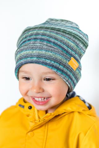 детская шапка из турецкой шерсти в полоску бирюзово-зеленая