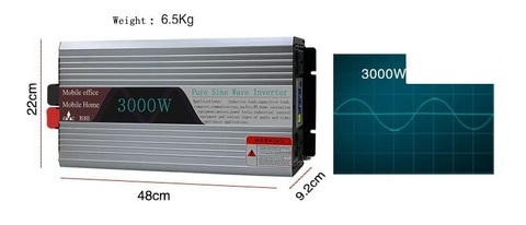 Инвертор 12-220V YURNIX Юрникс 3000W чистый синус 12 вольт на 220вольт 3000 Ват преобразователь напряжения