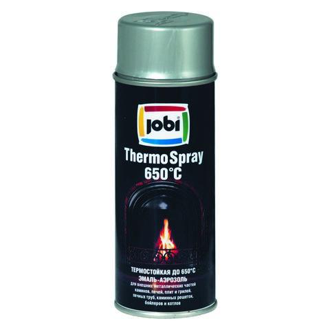 Эмаль JOBI аэрозоль термостойкая 650С серебро 400мл