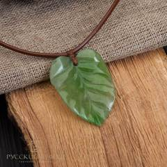 """Кулон """"Чистый лист"""" из зеленого нефрита"""