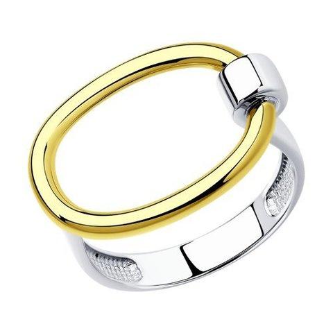 94013341 - Кольцо лаконичной формы из двухцветного серебра