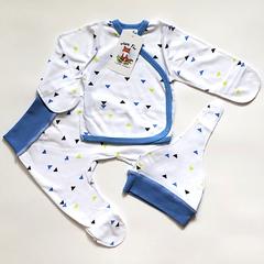 Mini Fox. Комплект для новорожденных 3 предмета, синие треугольники