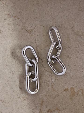 Серьги Три Звена, серебряный цвет