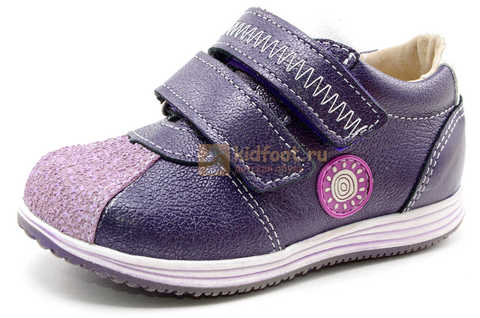 Ботинки для девочек Лель (LEL) из натуральной кожи на липучках цвет фиолетовый, 3-927A. Изображение 1 из 16.