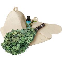 Подарочный Банный набор (веник, коврик, шапка, рукавица, ароматизатор)