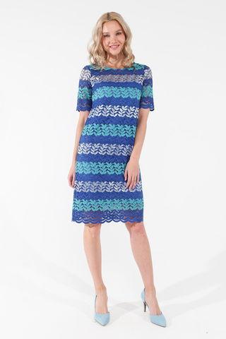 Фото синее кружевное платье до колена с цветочным принтом - Платье З453а-126 (1)