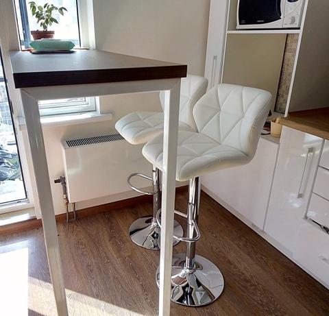 Барный стул Diamond / Диамонд (стул стилиста, визажиста, бровиста), регулируемый по высоте, экокожа