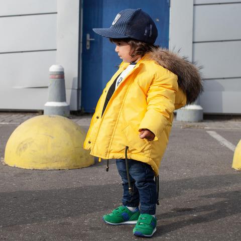 Зимова підліткова жовта парка з хутром