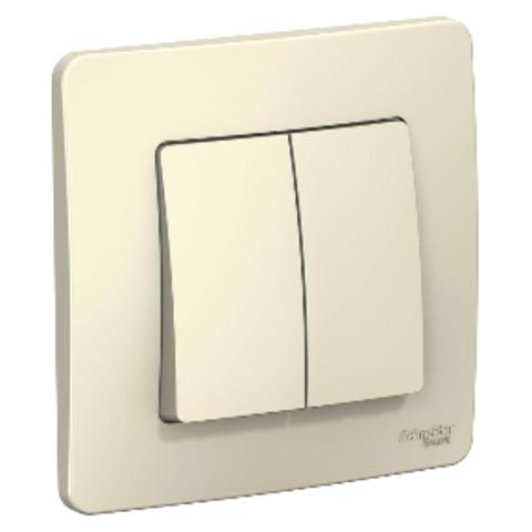 Выключатель двухклавишный. 10А. 250В. Цвет Молочный. Schneider Electric Blanca. BLNVS010502