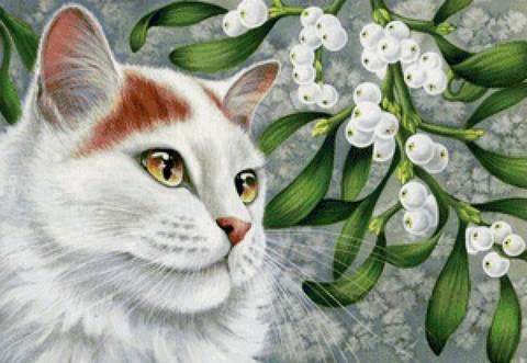 Алмазная Мозаика 30x40 Белая кошка и ягоды