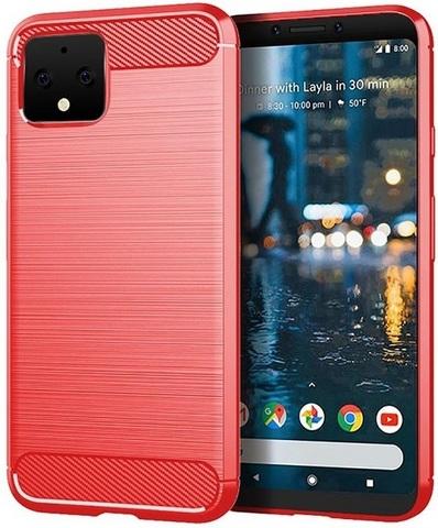 Чехол на Google Pixel 4 цвет Red (красный), серия Carbon от Caseport