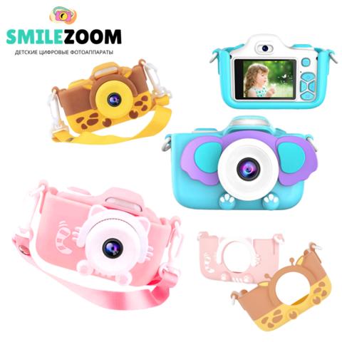 Фотоаппарат детский со вспышкой SmileZoom 32 Мп с Wi-Fi Кот/ Жираф / Слон