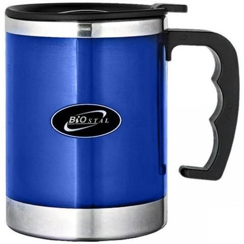 Кружка Biostal (0,35 литра) с крышкой, синяя