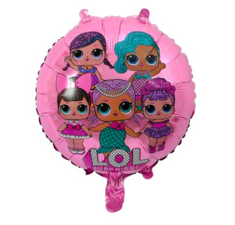 Шар круг Куклы, розовый, 45 см