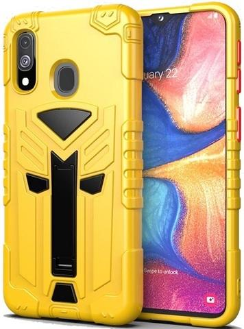 Чехол для Samsung Galaxy A20e серии Dual X с магнитом и складной подставкой, желтого цвета от Caseport