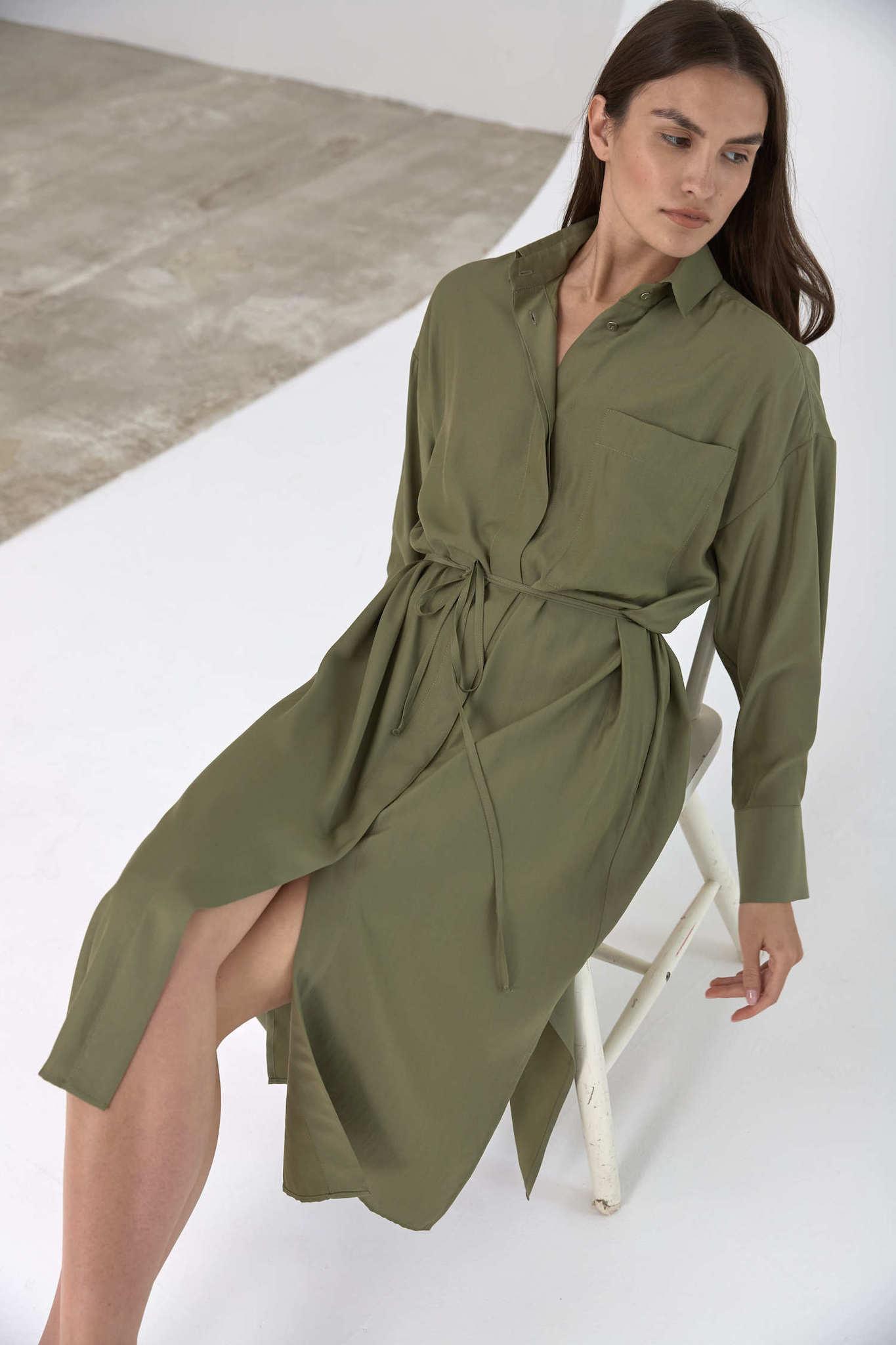 Платье-рубашка под пояс, зеленый