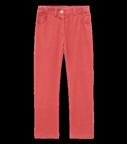 Коралловые брюки из вельвета