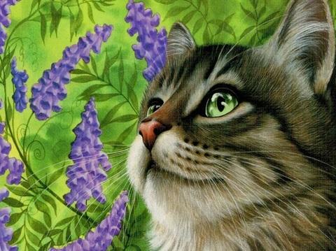 Алмазная Мозаика 30x40 Серая кошка у фиолетовых цветов