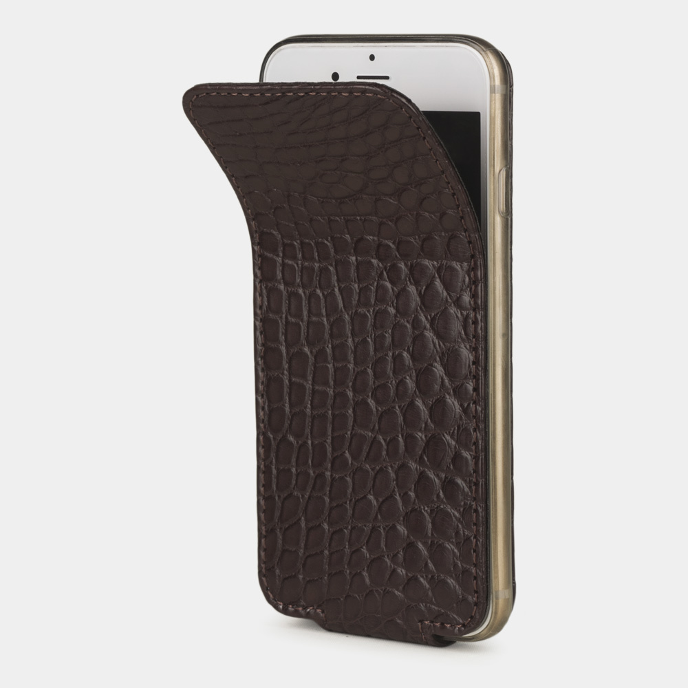 Чехол для iPhone 6/6S из натуральной кожи аллигатора, темно-коричневого цвета