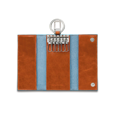 Ключница Piquadro Blue Square, оранжевая, 6х12х2 см