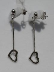 Сердце на цепочке (серьги из серебра)