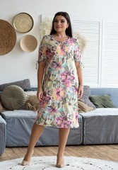 Ліна. Літнє плаття великих розмірів. Бузкові квіти