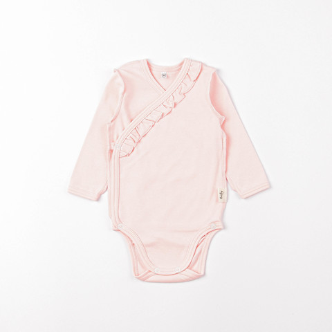 Long-sleeved bodysuit with ruffles 0+, Light Pink