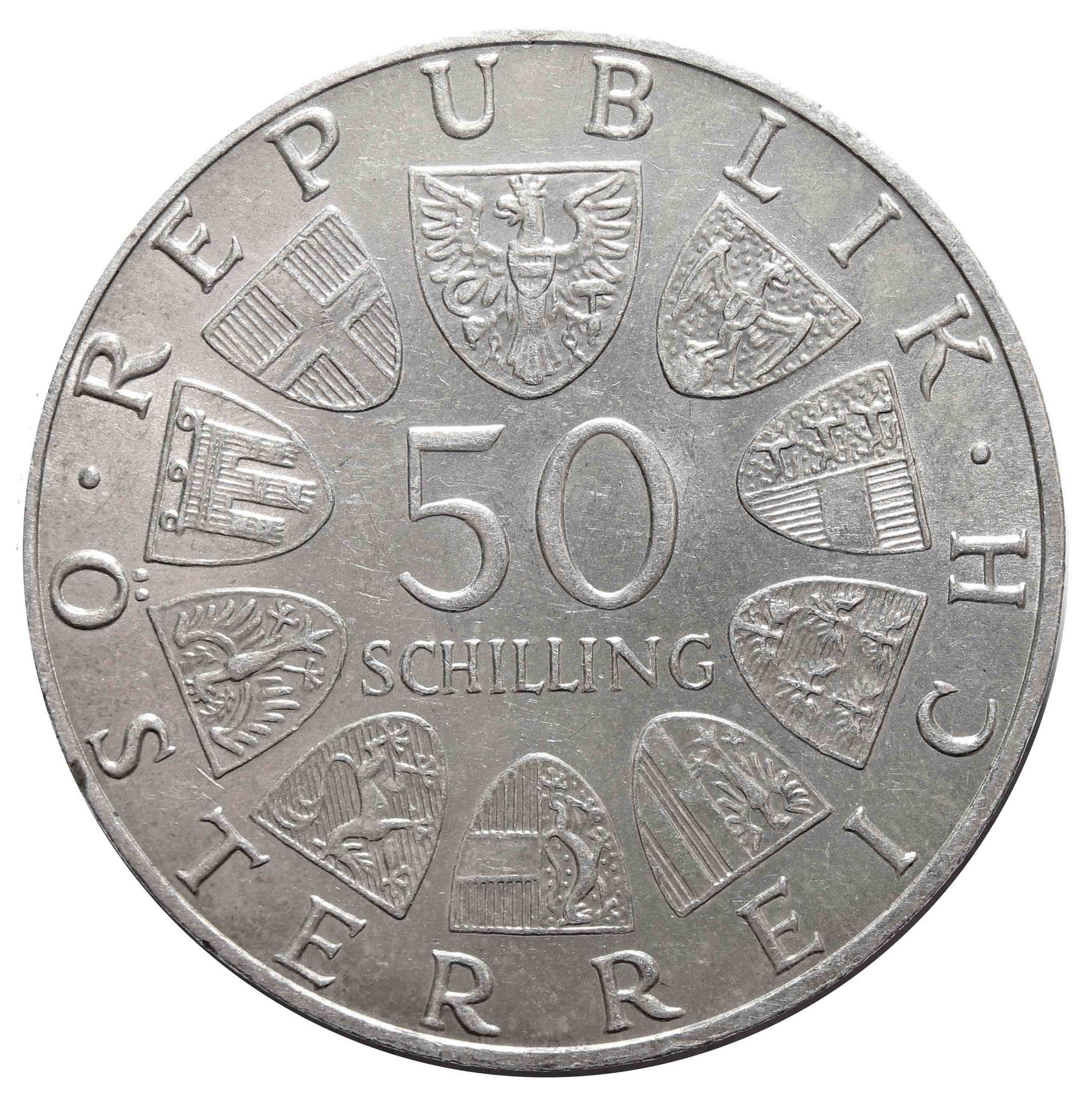 50 шиллингов. 150 лет со дня смерти Франца Шуберта. Австрия. 1978 год. Серебро. AU