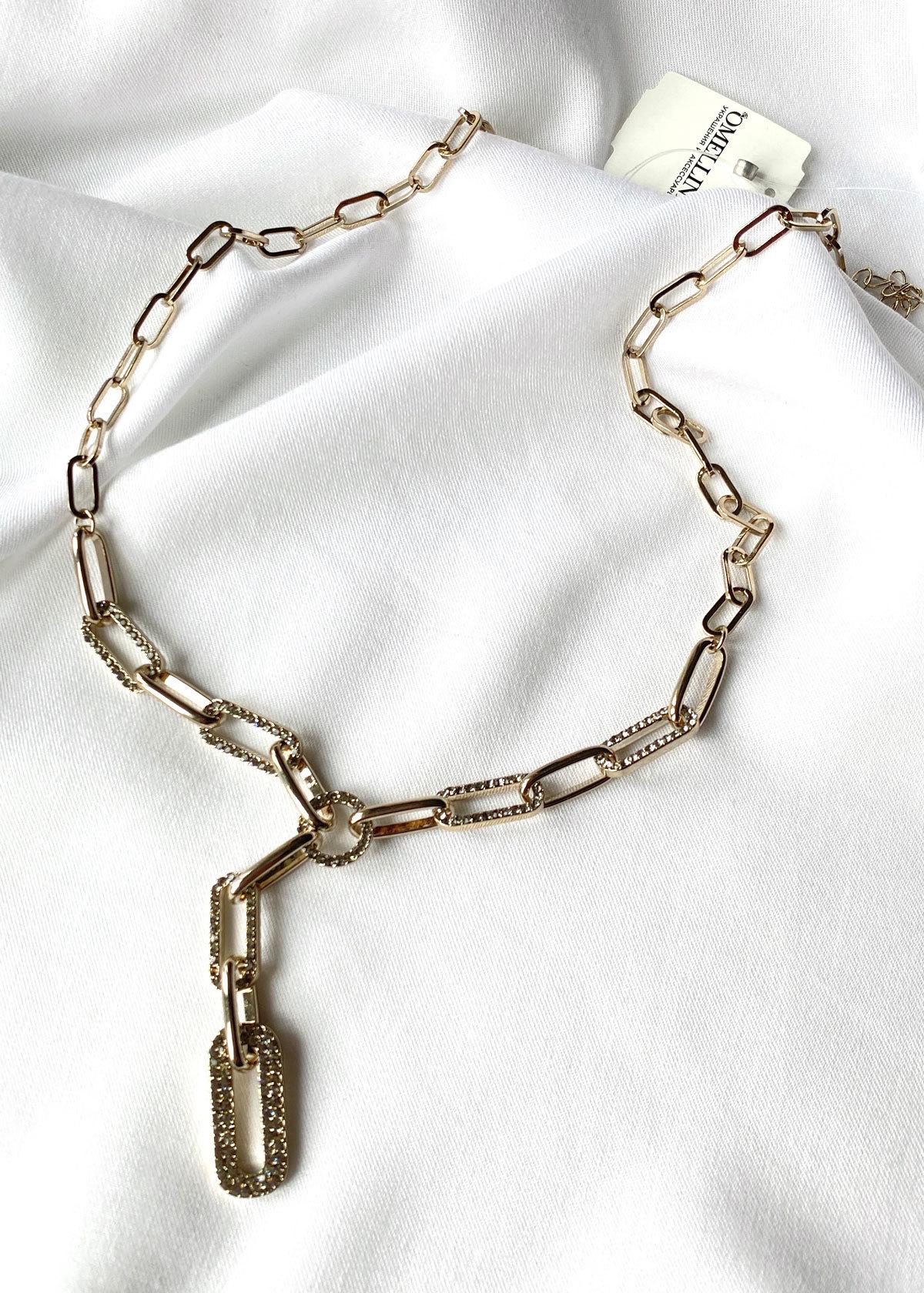 Колье-цепь с звеньями в кристаллах (брасс)