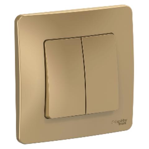 Выключатель двухклавишный. 10А. 250В. Цвет Титан. Schneider Electric Blanca. BLNVS010504