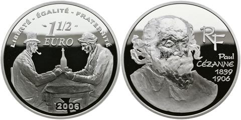 1,5 евро 2006 год. Франция. Художник Поль Сезанн. Серебро