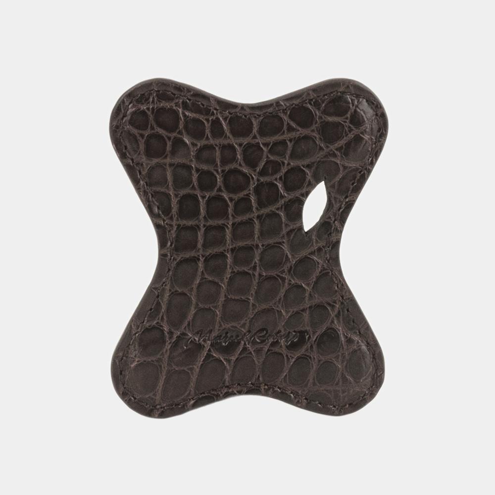 Чехол-держатель для наушников Papillon Bisness из натуральной кожи аллигатора, темно-коричневого цвета