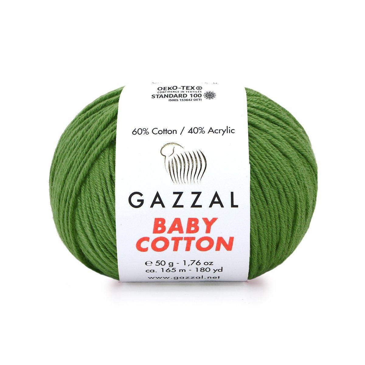 Пряжа Gazzal Baby Cotton 3449 трава