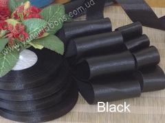 Лента атласная однотонная черная - black