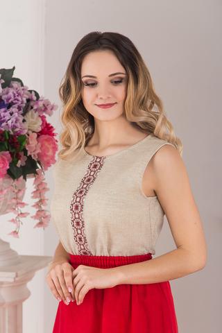 Блуза льняная без рукава небеленая от Иванка