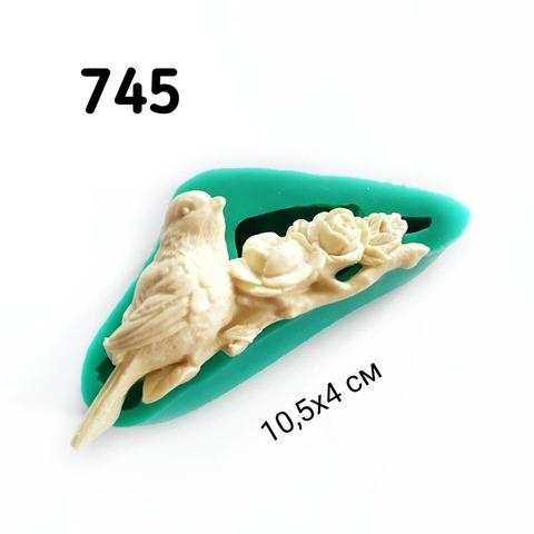 0745 Молл силиконовый Птица и розы.