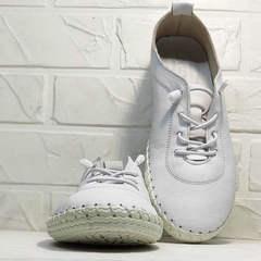 Спортивные мокасины кроссовки женские Rozen 115 All White.