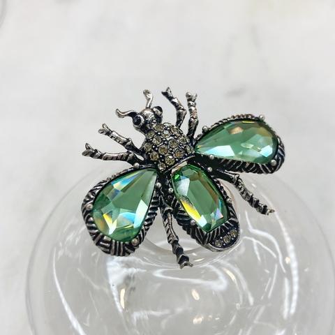 Брошь 2-в-1 Мотылек Кристальный цирконы (зеленый)