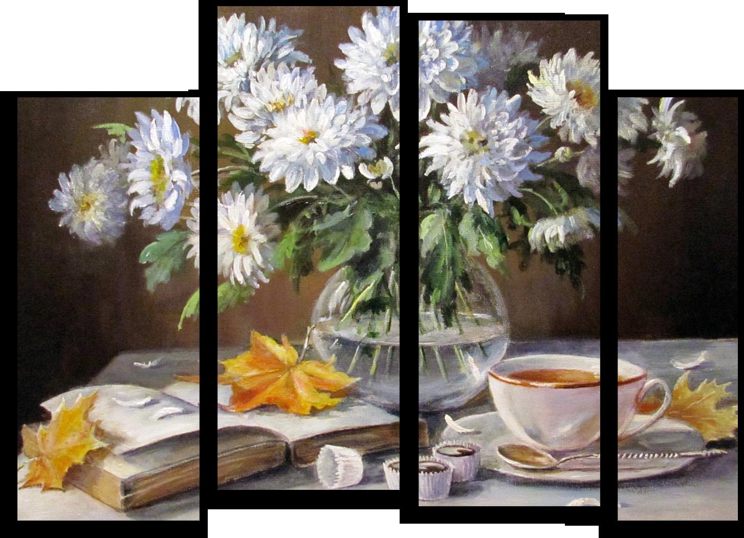 """Цветы Модульная картина """"Белые астры"""" М258.png"""