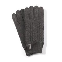 Теплые вязаные трикотажные перчатки с тачскрином, с флисом внутри  (Зимние перчатки для сенсорных экранов) темно-болотные