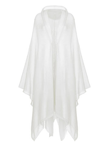 Женский шарф белого цвета из мохера и шерсти - фото 2
